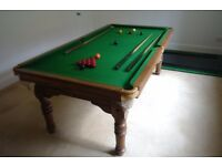 E.J. Riley Solid Oak Antique 7ft Billiards/Dining Table