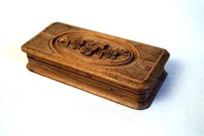 alte Holzdose Deckeldose Edelholz Briefmarkendose Handarbeit edel & wertvoll
