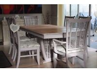 Shabby chic solid hardwood dining table and 6 chairs