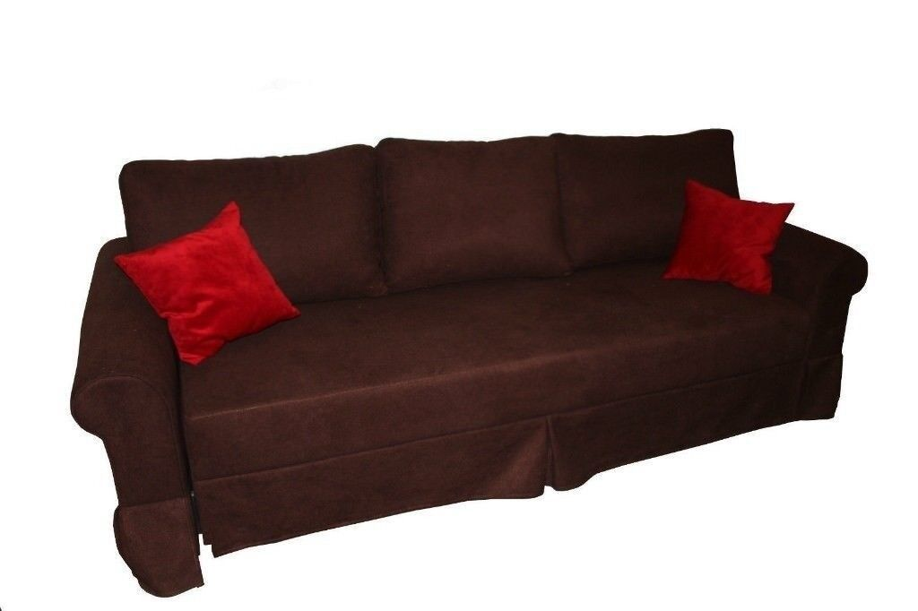 Brand New 3 Seater High Quality Fabric Sofa Bed Sleeper With Cushions In Brown