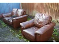 Leather 2x2 sofa and armchair