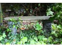 STONE GARDEN BENCH WITH SQUIRREL BASE