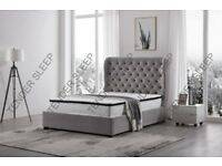 🔰🔰EXCELLENT QUALITY🔰🔰Brand New Double Ottoman Butterfly Storage Fabric Velvet Bed