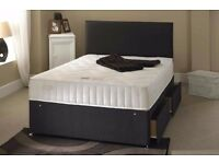 DOUBLE/SMALL DOUBLE DIVAN BED (4FT BED)- DIVAN BED AND MATTRESS-HEADBOARD-STORAGE-same Day Delivery