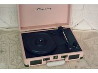 Vintage Pink Suitcase Record Player