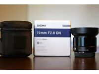 Sigma Art DN 19mm f2.8 prime mint, boxed for MFT. £99