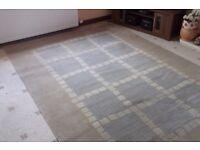 Large Neutral coloured rug ,light tan , blue grey rug, Belgium manufacture,