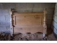 Vintage antique stripped pine wood double headboard