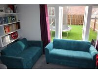 NEW DFS TEAL SMALL 3 AND 2 SEATER SOFAS CAN DELIVER FREE