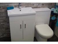 Vanity Unit & Matching WC Unit White Gloss
