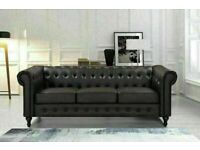 🔵💖🔴SUPER DISCOUNT🔵💖🔴NEWLY ARRIVAL COMFORTABLE FEEL CHESTERFIELD LEATHER 3+2 & CORNER SOFA