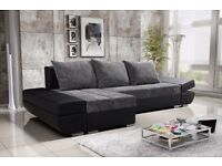 Corner sofa bed sofa bed UK STOCK 1-5 DAY DELIVERY(Black-Grey)Cassino