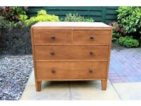 Vintage Solid Oak Chest of 4 Drawers