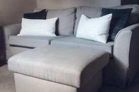 Sofa & Matching Storage Ottoman Few months old. Removeable covers