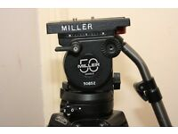 MILLER 50 series II 100mm flued head with MILLER one stage aluminum tripod legs