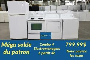ECONOPLUS LIQUIDATION GRAND CHOIX DENSEMBLE 4 ELECTROMENAGERS A PARTIR DE 799.99$ TAXES INCLUSES