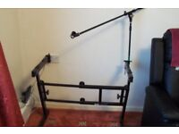 onstage keyboard z adjustable stand with mic boom arm and mic holder
