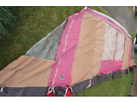 CARAVAN AWNING - red and cream (8.12m A measurement)