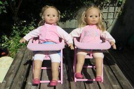 Zapf Sally Dolls + High Chairs