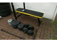 Space Saving Foldaway Bench, 61kg Weights, Dumbells and Barbell