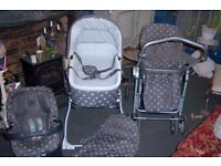 Mamas & Papas Ultima MPX travel system in Grey Polka – LOTS OF EXTRAS