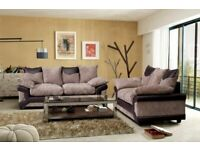 Lowest Price In Uk-DINO JUMBO CORD FABRIC CORNER SOFA SUITE - 3 and 2 SEATER