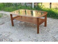 Retro Mid Century GPlan G Plan Coffee Table with Magazine Shelf Glass Insert Top