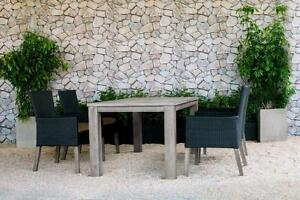 FREE Delivery in Montrea! 5 PC Weathered Teak Outdoor Dining Table Set with Dark Chocolate Wicker Patio Chairs by Cieux!