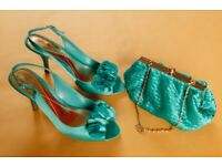 2 pairs of high heeled shoes, one with matching bag, good condition, worn once. Euro size 39/40