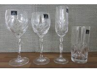 8 matching crystal glasses by Royal Doulton 24% lead crystal