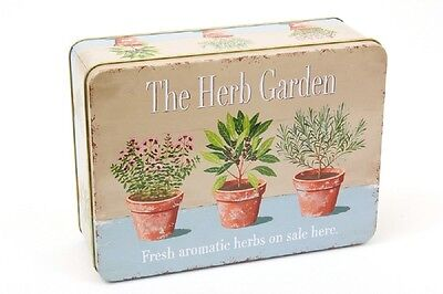 Herb Garden Lunch Tin Storage Metal Gift Kitchen Garden Retro