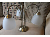 Elegant brass effect ceiling light with three frosted glass uplighters