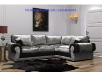 *** SPECIAL OFFER *** BRAND NEW CRUSHED VELVET CORNER SOFA OR 3+2 ON SPECIAL OFFER, EXPRESS DELIVERY