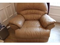 Leather Reclining Corner sofa with matching chair and storage stool
