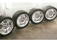BMW OEM E46 M SPORT DOUBLE SPOKE STYLE 68 LIGHT ALLOY WHEELS RIMS STAGGERED 5x120