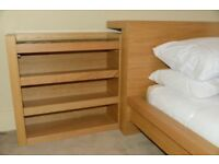 IKea Malm Beech headboard and 2 slide in side cabinets
