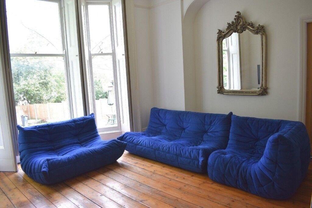 Ligne Roset TOGO Sofa Alcantara Blue   1 X 3 Seater, 1 X 2 Seater