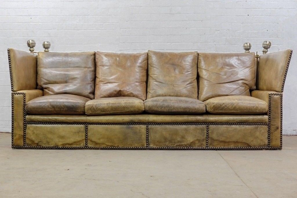 BESPOKE ANTIQUE EARLY 20thC KNOLE DROP ARM LEATHER SOFA   FREE UK DELIVERY