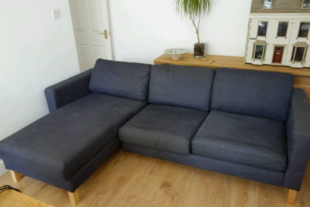 Dark Blue/Navy Ikea Karlstad Modular 3 Seater Sofa with Chaise Lounge : karlstad chaise lounge - Sectionals, Sofas & Couches