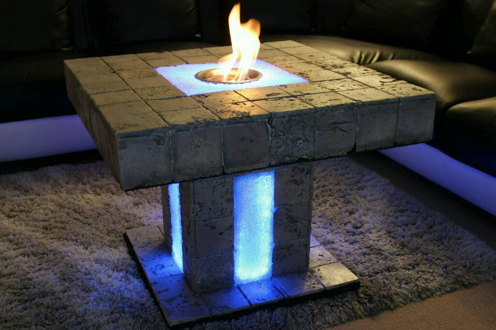 Solid Coffee Table (Natural Stone Travertine) Fire Pit / Fire Table Bio Ethanol  Fireplace