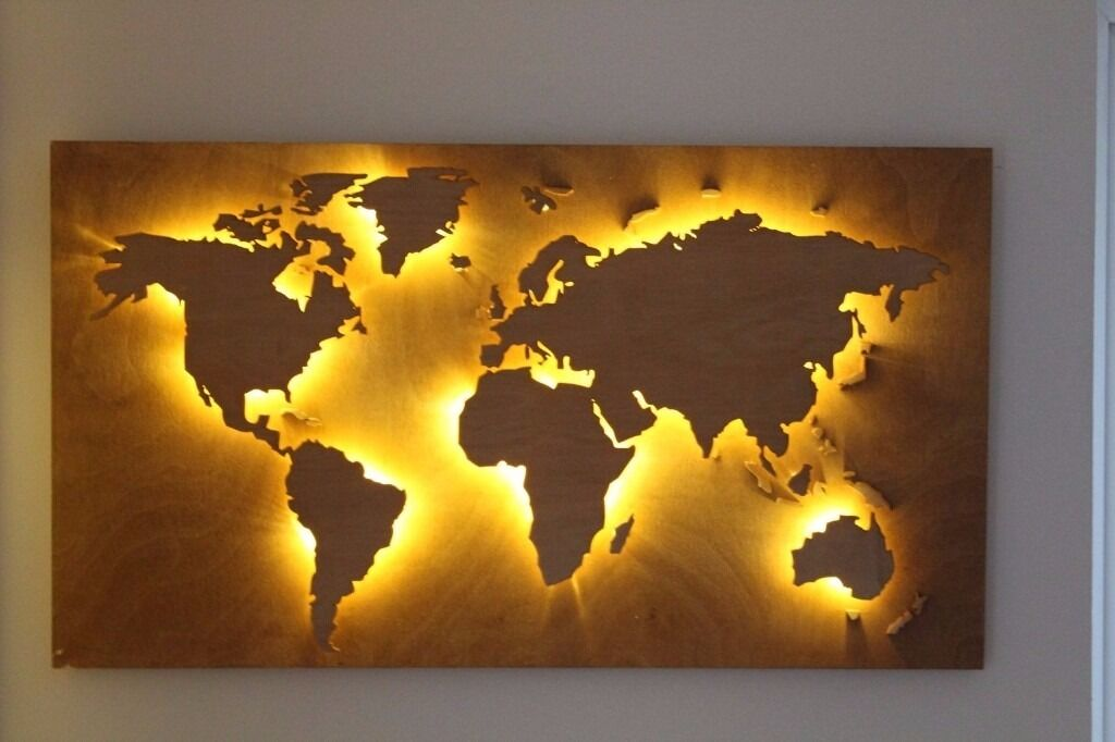 Handmade Back Lit Wooden World Map In Vintage Style. Customisable Office,  Work Or Home
