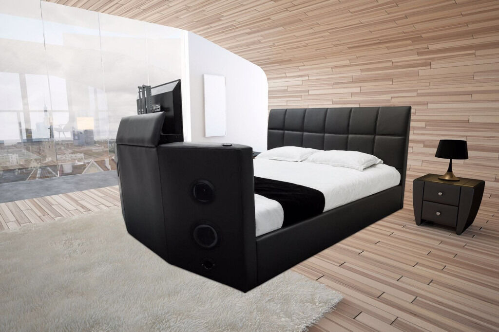 Double Black Leather TV Bed With Built In Bluetooth+Stereo Speakers Remote  Cntrl
