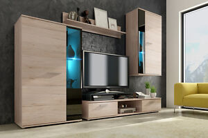 Wall Unit Furniture Living Room TV Stand OAK SONOMA ( Free Led ) 4 Pieces  Set Part 77