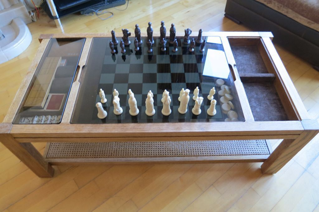Captivating Retro Antique Vintage Gaming Glass Top Coffee Table / Chess Board /  Backgammon / Dominos