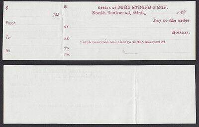 BLANK CHECK w/STUB==JOHN STRONG & SON==SOUTH ROCKWOOD, MI==1880s