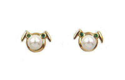 The Josei Ninja Girl Pearl and Emerald Earrings- in 18K Gold Plated and Rhodium  - The Gold Ninja