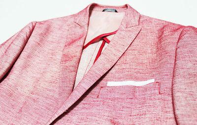 $667 Italy DANIELE ALESSANDRINI Pink Cruise Linen Blazer Jacket 36-US 46 Small