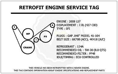 2008 ls7 7 0l corvette retrofit engine service tag belt routing you re almost done