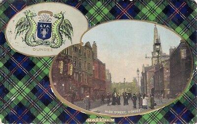 RARE TUCK POSTCARD - MALCOLM CLAN TARTAN - HIGH STREET - DUNDEE - ANGUS 1915
