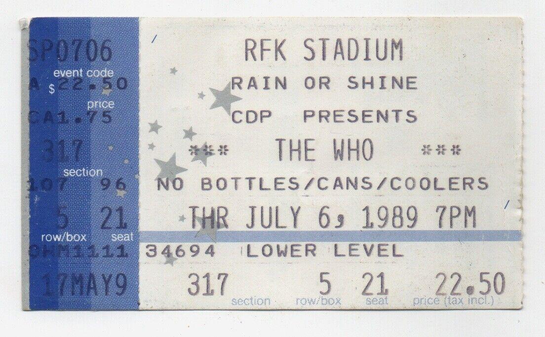 The Who Concert Ticket Stub July 6 1989 RFK Stadium Washington D.C.  - $2.99